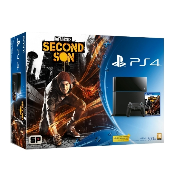 PlayStation 4 (500GB) Black Console with inFamous Second Son