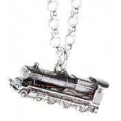Sterling Silver Hogwarts Express Train Charm Necklace