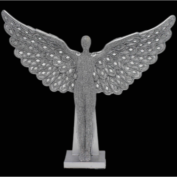 Silver Art Angel Standing 13 Inch Ornament By Lesser & Pavey