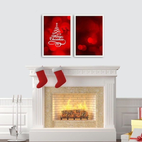 2PBCTNOEL-09 Multicolor Decorative Framed MDF Painting (2 Pieces)
