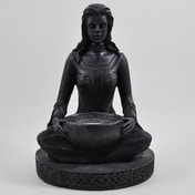 Meditation Black Resin Tea-Light Holder Ornament 18cm