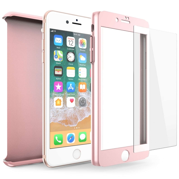 Compare prices with Phone Retailers Comaprison to buy a Apple iPhone 8 PC Hybrid 360 Case with Tempered Glass Screen Protector - Rose Gold