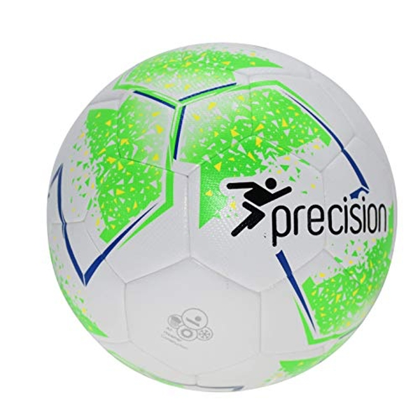 Precision Unisex-Youth Fusion Sala Futsal Ball, White/Fluo Green/Fluo Yellow/Blue, 3