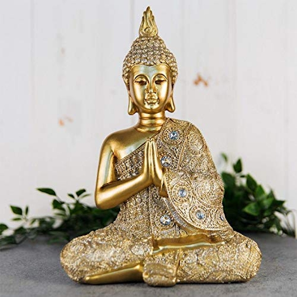Gold Sitting Thai Buddha Figurine 28cm