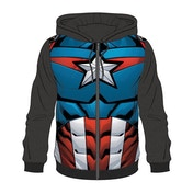 Captain America - Suit Sublimation Men's Medium Full Length Zipper Hoodie - Blue