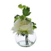The Flower Patch Peony Cream in Glass Bowl 19cm