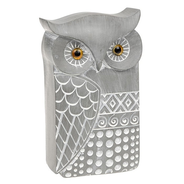 Country Grey Modern Owl Large Ornament