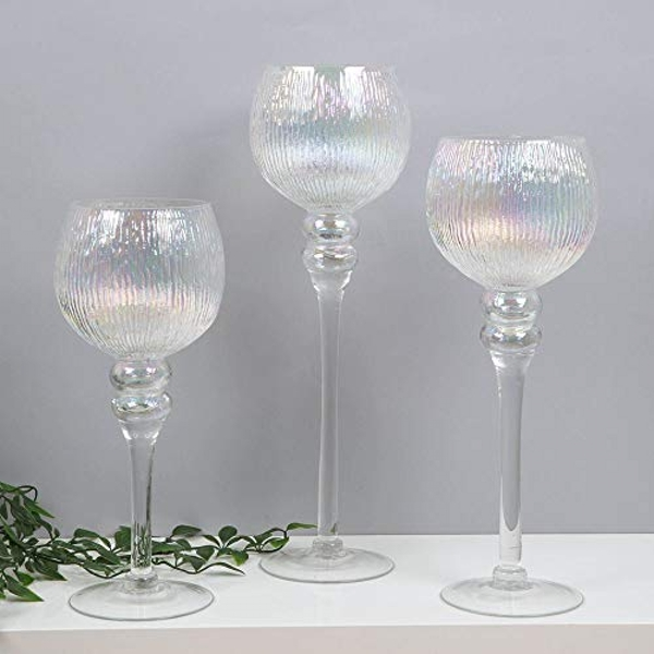 HESTIA? Set of 3 Pearlised Glass Goblet Style Candle Holders