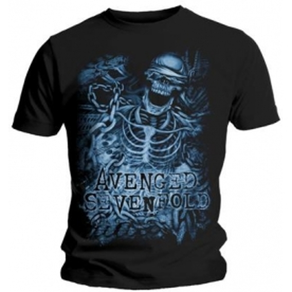 Avenged Sevenfold Chained Skeleton Black T Shirt: XXL