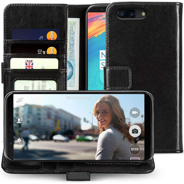 OnePlus 5T Real Leather ID Wallet - Black