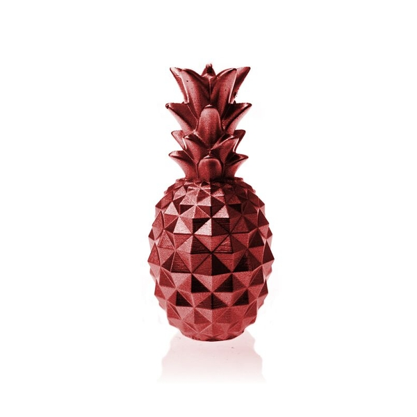 Red Metallic Medium Pineapple Candle
