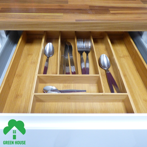 Bamboo Extending Cutlery Drawer Tray With Adjustable Compartments Green House - Image 8