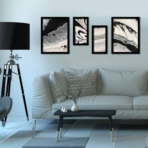 4P3040SCT010 Multicolor Decorative Framed MDF Painting (4 Pieces)