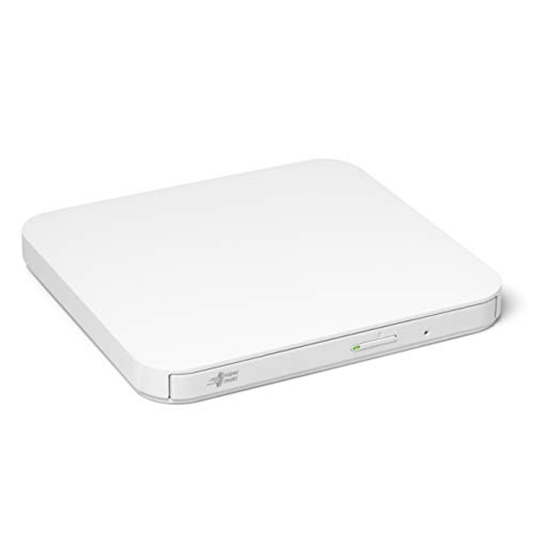 Hitachi-LG GP90NW70 External DVD Drive USB 2.0 Ultra Slim Portable DVD-RW CD ROM Rewriter for Laptop Desktop PC Windows and Mac OS with TV Connectivity - White