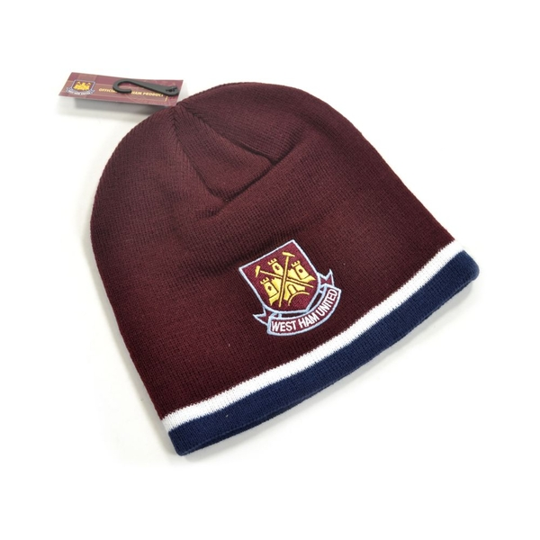 West Ham Classic Crest Youths Knitted Beanie Hat Claret Navy