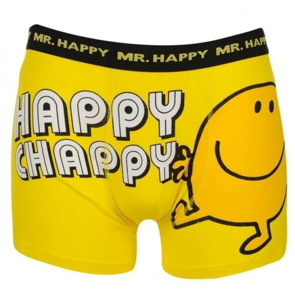 Mr Men Mr Happy Mens Boxer Shorts Small Yellow
