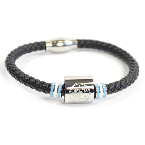 Man City Leather Colour Ring Stainless Steel Boxed Bracelet