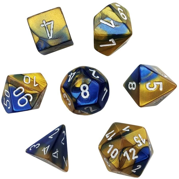 Chessex Gemini Poly 7 Set: Blue-Gold/White