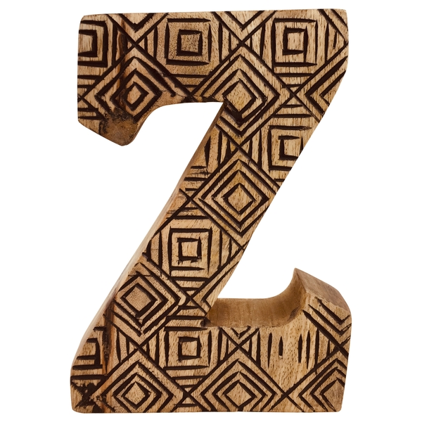 Letter Z Hand Carved Wooden Geometric