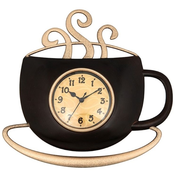Tearoom Steaming Coffee Clock