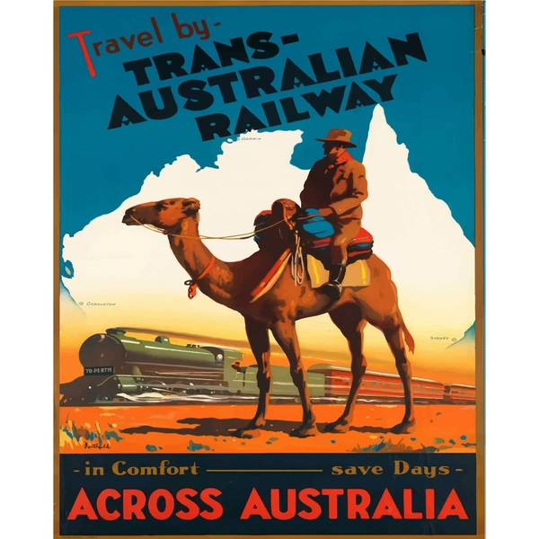 Vintage Metal Sign Retro Advertising Trans Australian Railway