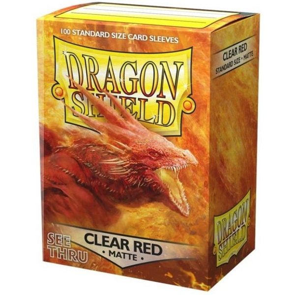 Dragon Shield Clear Red See Thru Matte Card Sleeves - 100 Sleeves
