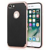 Apple iPhone 7 Carbon Fibre TPU + PC Gel Case - Rose Gold