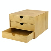 Bamboo Desktop 3 Drawer | M&W Slim Opening