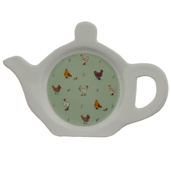 Willow Farm Chickens Porcelain Teapot Shaped Tea Bag Dish