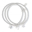 Heart, Butterfly and Star with Sterling Silver Ball Bead Set of 3 Bracelets