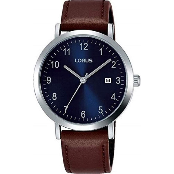 Lorus RXN49DX9 Mens Classic Padded Brown Leather Strap Dress Watch with Sunray Blue Dial