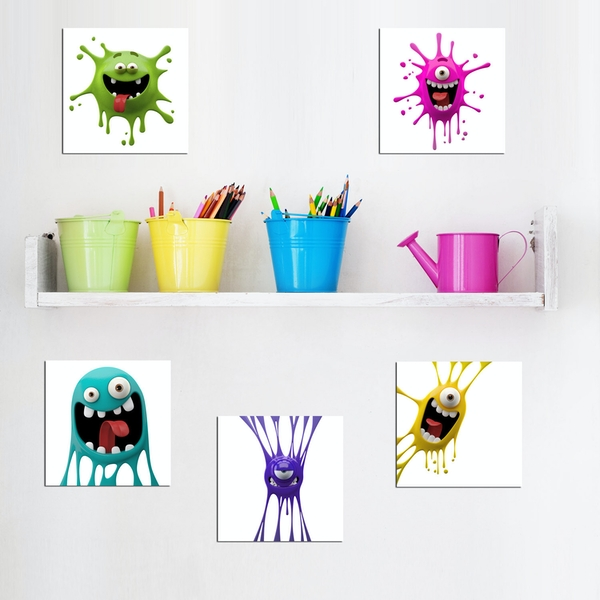 UTB143 Green Pink Blue Purple Yellow Decorative MDF Painting (5 Pieces)