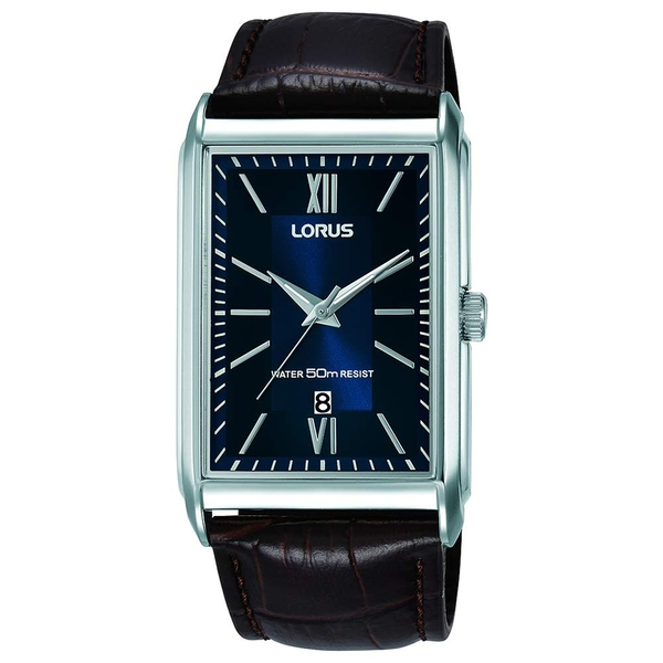 Lorus RH911JX9 Mens Rectangular Dial Watch with Brown Leather Strap