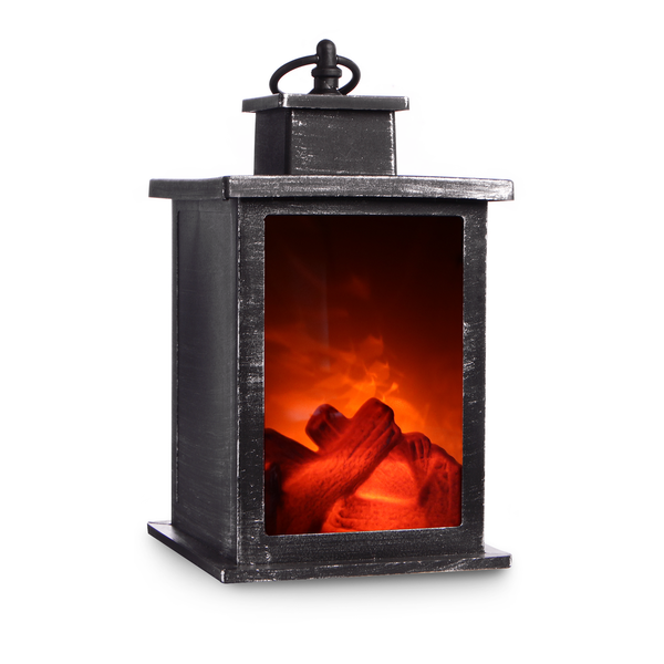 Mini LED Fireplace Lantern Brushed Effect
