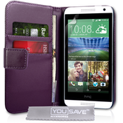 YouSave Accessories HTC Desire 610 Leather-Effect Wallet Case - Purple