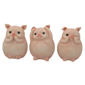 Three Wise Piggies Figurines