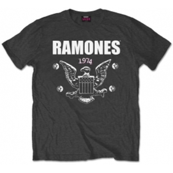 Ramones 1974 Eagle Mens Charcoal T Shirt: Small