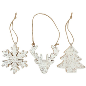 Trio of Wooden Hanging Decorations