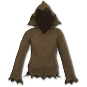 Gothic Elegance Zig Zag Hem Full Zip Women's Small Hoodie - Brown