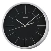 Seiko QXA715A Aluminium Wall Clock - Silver with Black Dial