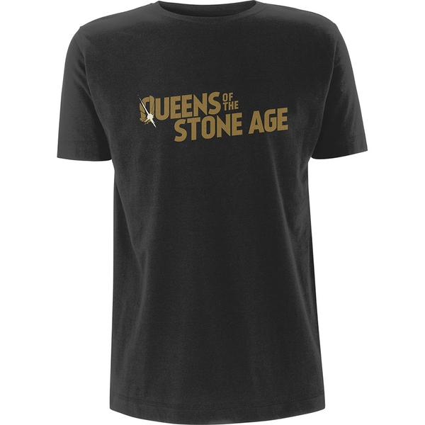 Queens Of The Stone Age - Metallic Text Logo Unisex Small T-Shirt - Grey