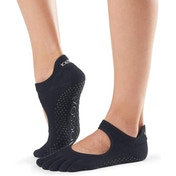Toesox Bellarina Full Toe Non Slip Socks  Black  Medium 6-8.5