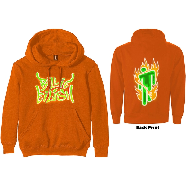 Billie Eilish - Airbrush Flames Blohsh Unisex Medium Hoodie - Orange