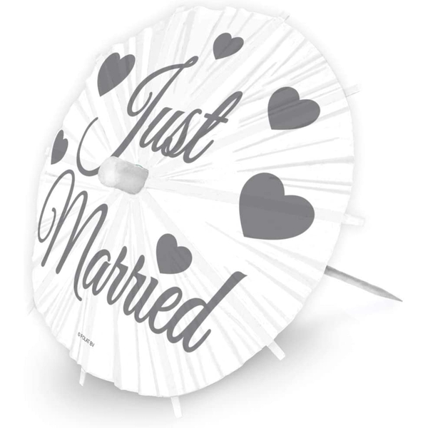Just Married Wedding Cocktail Sticks Party Picks (Pack Of 8)