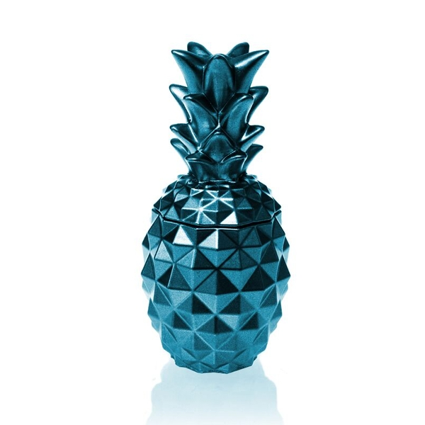 Blue Metallic Concrete Pineapple For Her Candle - Image 1