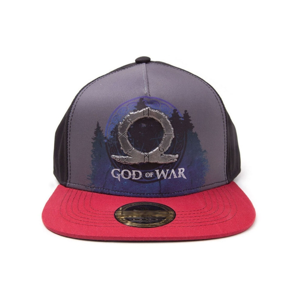 God Of War - Logo Metal Badge With Sublimation Print Unisex Dual Pop-Lock Fitting Strap Cap - Multi-Colour