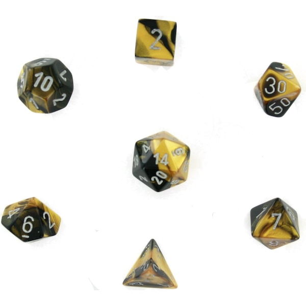 Chessex Poly 7 Dice Set: Leaf Black Gold/silver