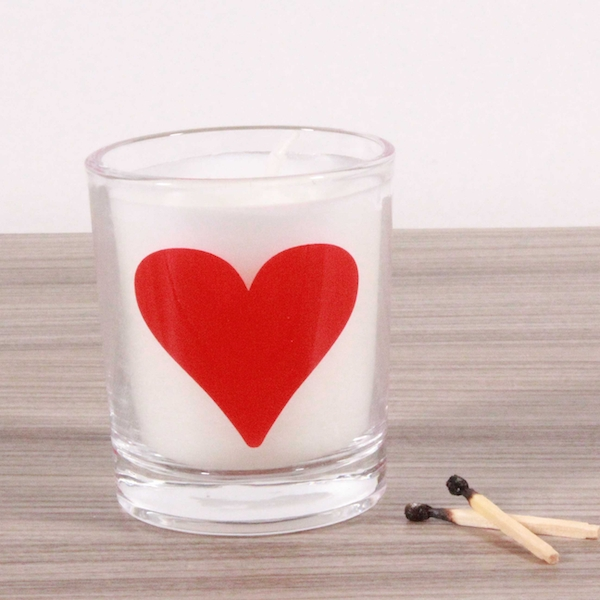 Heart (Red) Alphabet Candle in Votive Glass