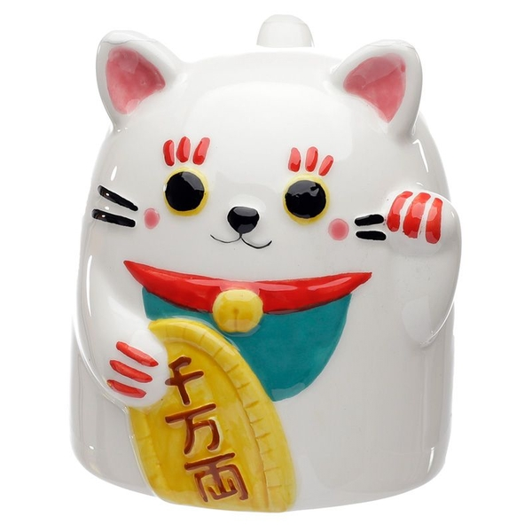 Maneki Neko Lucky Cat Upside Down Ceramic Mug