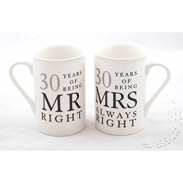 Amore Gift Set - 30 Years Mr Right/Mrs Always Right Mugs